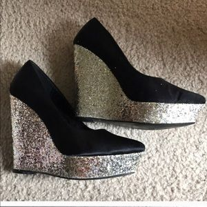 Black Satin and Silver Glitter Wedges